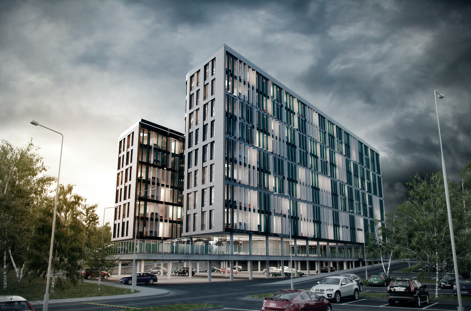 Modern Architecture Render monobox - commercial building | render visualization | pinterest